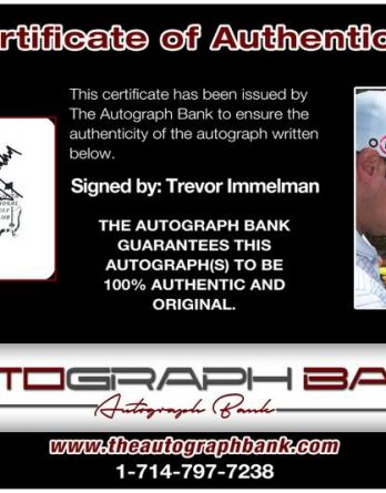 Trevor Immelman certificate of authenticity from the autograph bank