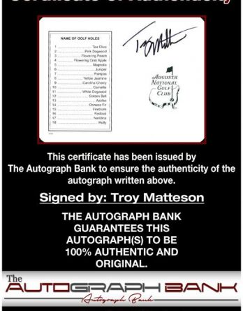 Troy Matteson certificate of authenticity from the autograph bank