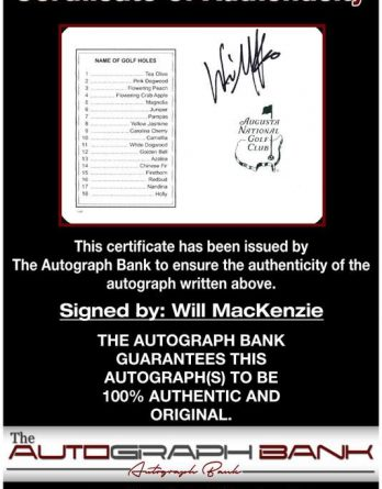 Will Mackenzie certificate of authenticity from the autograph bank