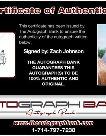 Zach Johnson certificate of authenticity from the autograph bank