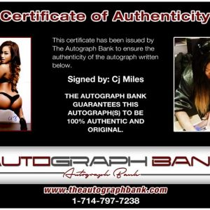 Cj Miles certificate of authenticity from the autograph bank
