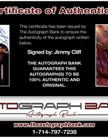 Jimmy Cliff certificate of authenticity from the autograph bank
