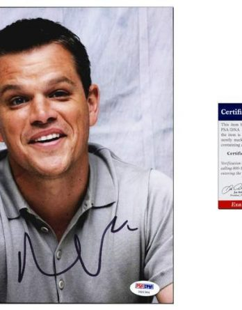 Matt Damon certificate of authenticity from the autograph bank
