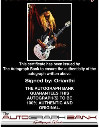 Orianthi Panagaris certificate of authenticity from the autograph bank