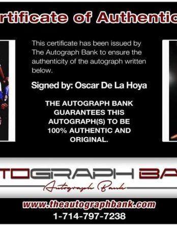 Oscar De La Hoya certificate of authenticity from the autograph bank