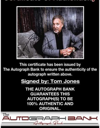 Tom Jones certificate of authenticity from the autograph bank