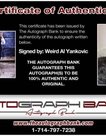 Weird Al certificate of authenticity from the autograph bank