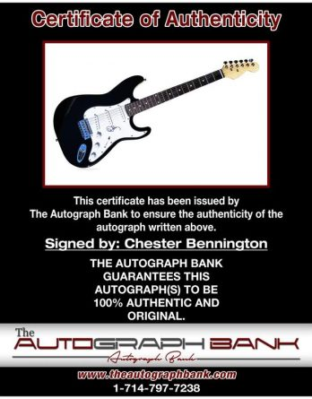 Chester Bennington certificate of authenticity from the autograph bank