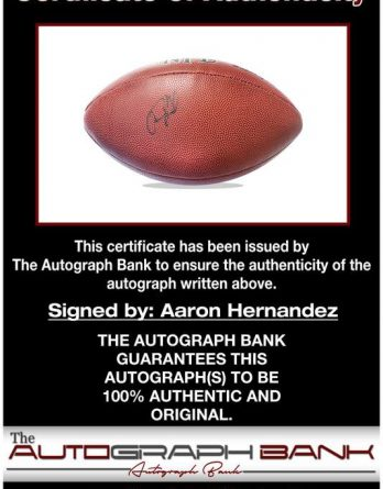 Aaron Hernandez certificate of authenticity from the autograph bank
