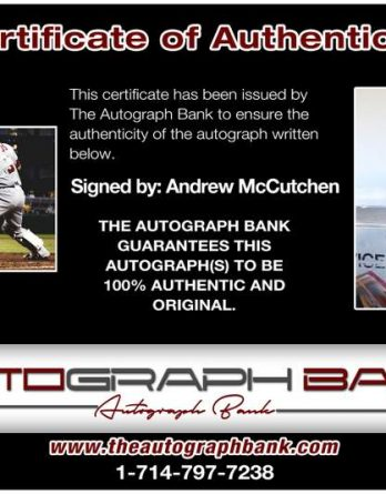 Andrew Mccutchen certificate of authenticity from the autograph bank