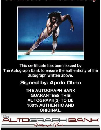 Apolo Ohno certificate of authenticity from the autograph bank