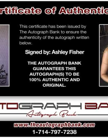 Ashley Fisher certificate of authenticity from the autograph bank