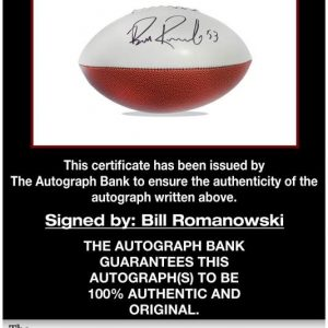 Bill Romanowski certificate of authenticity from the autograph bank