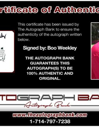 Boo Weekley certificate of authenticity from the autograph bank