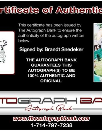 Brandt Snedeker certificate of authenticity from the autograph bank