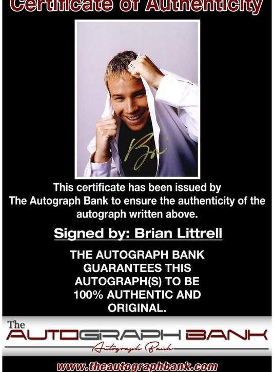Brian Littrell certificate of authenticity from the autograph bank