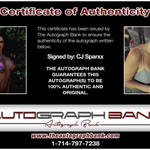 Cj Sparxx certificate of authenticity from the autograph bank