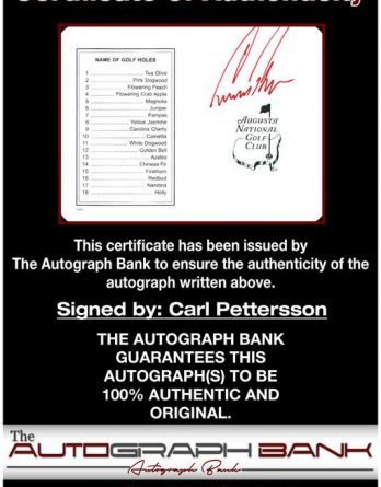 Carl Pettersson certificate of authenticity from the autograph bank