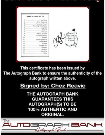 Chez Reavie certificate of authenticity from the autograph bank