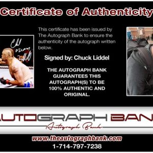 Chuck Liddel certificate of authenticity from the autograph bank