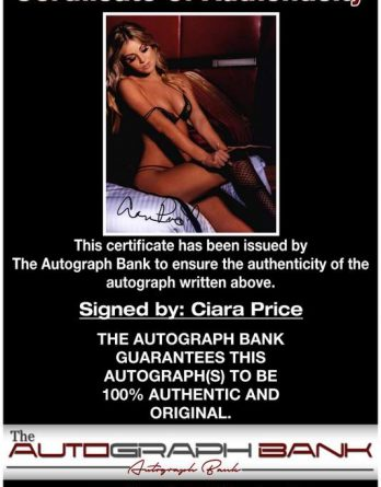 Ciara Price certificate of authenticity from the autograph bank