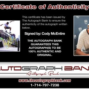 Cody Mcentire certificate of authenticity from the autograph bank