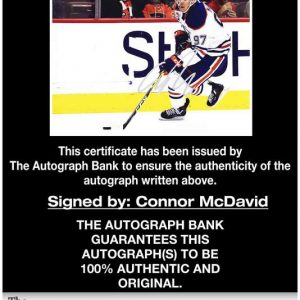 Connor Mcdavid certificate of authenticity from the autograph bank