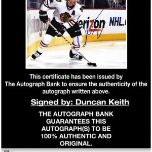 Duncan Keith certificate of authenticity from the autograph bank