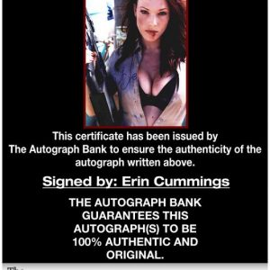 Erin Cummings certificate of authenticity from the autograph bank