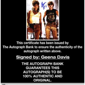 Geena Davis certificate of authenticity from the autograph bank