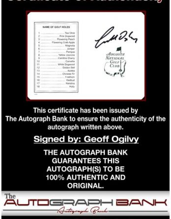 Geoff Ogilvy certificate of authenticity from the autograph bank