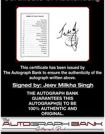 Jeev Milkha Singh certificate of authenticity from the autograph bank