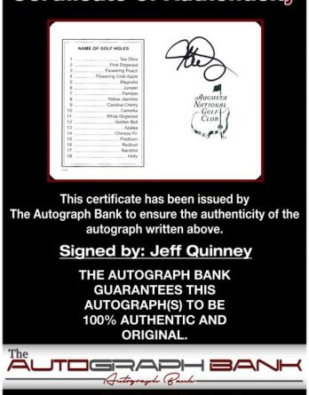 Jeff Quinney certificate of authenticity from the autograph bank