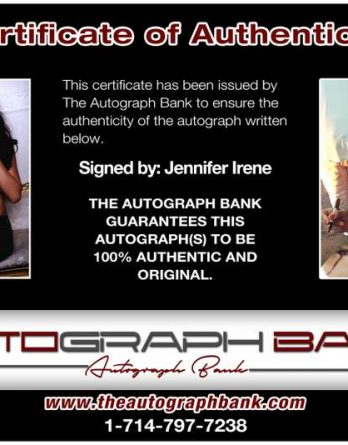 Jennifer Irene certificate of authenticity from the autograph bank
