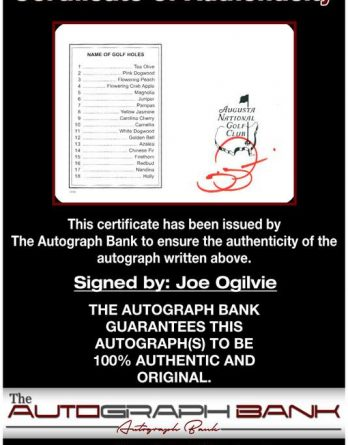 Joe Ogilvie certificate of authenticity from the autograph bank