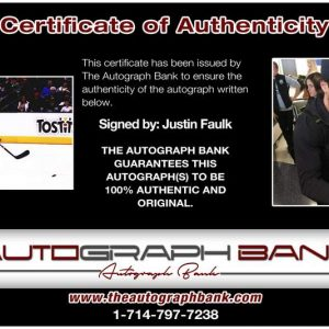 Justin Faulk certificate of authenticity from the autograph bank