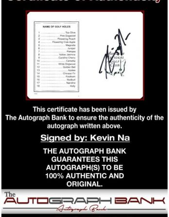 Kevin Na certificate of authenticity from the autograph bank