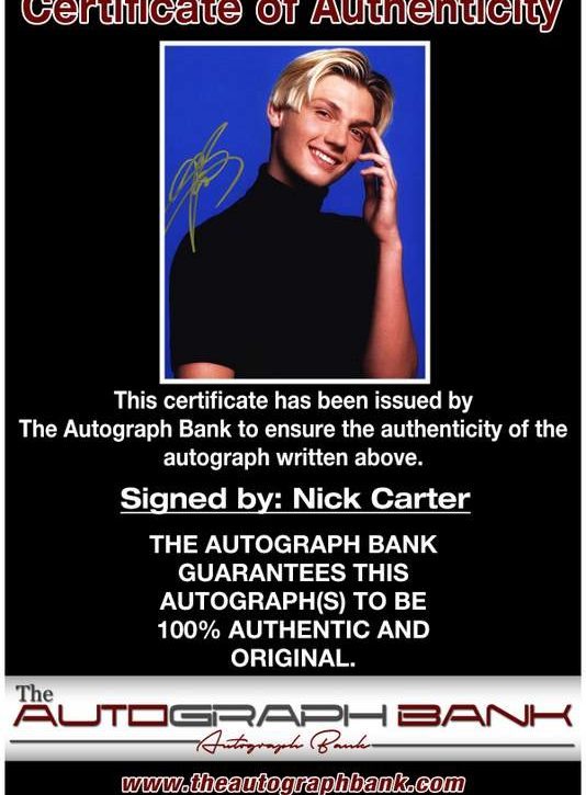 Nick Carter certificate of authenticity from the autograph bank