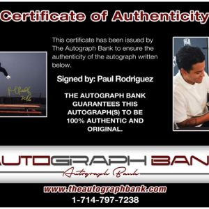 Paul Rodriguez certificate of authenticity from the autograph bank