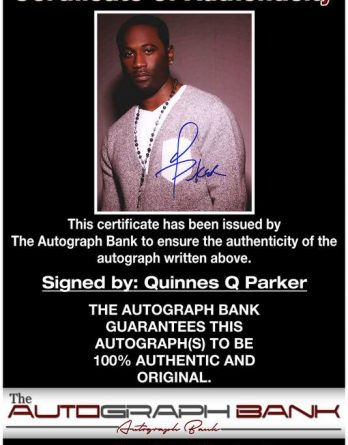 Quinnes Q Parker certificate of authenticity from the autograph bank