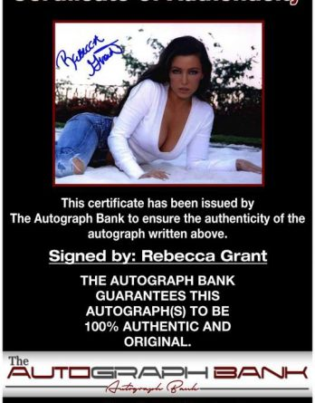 Rebecca Grant certificate of authenticity from the autograph bank