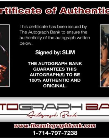 Slim certificate of authenticity from the autograph bank