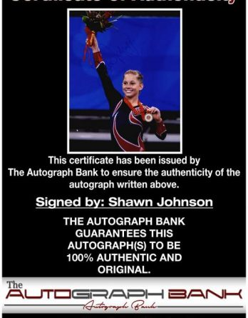 Shawn Johnson certificate of authenticity from the autograph bank