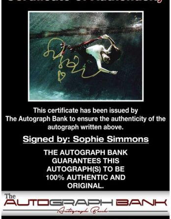 Sophie Simmons certificate of authenticity from the autograph bank