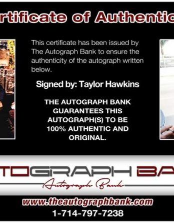 Taylor Hawkins certificate of authenticity from the autograph bank