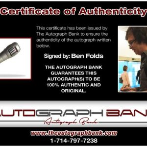 Ben Folds certificate of authenticity from the autograph bank