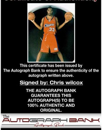 Chris Wilcox certificate of authenticity from the autograph bank