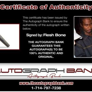 Flesh N Bone certificate of authenticity from the autograph bank