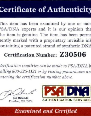 Kim Kardashian certificate of authenticity from the autograph bank