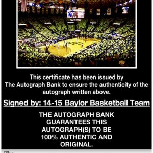 Baylor Bears certificate of authenticity from the autograph bank
